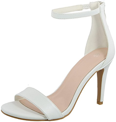 Cambridge Select Womens Open Toe Single Band Stretch Ankle Strap Back Zip Stiletto High Heel Sandal White Pu zW4MVeRv
