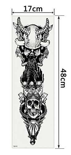 DaLin Extra Large Black Full Arm Temporary Tattoos and Half Arm Tattoo Sleeves for Men Women, 18 Sheets (Collection 3) by DaLin Temporary Tattoo (Image #1)