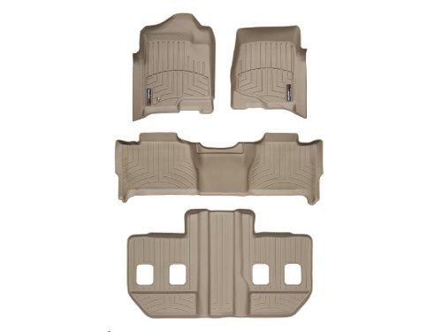 2007-2010 GMC Yukon XL / Yukon Denali XL WeatherTech Custom Fit FloorLiner - Complete Set (1st, 2nd, & 3rd Row Bucket Seats) Tan (Floor Set Complete Liner)