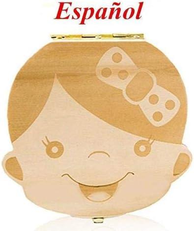 Naponior Cajita de Almacenamiento de Dientes de Leche en Espa/ñol para Ni/ños Organizador Caja Recuerdo de Materia Madera para Guardar Dientes Pelo Fetal de Beb/és