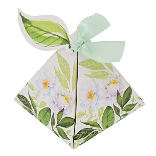 Towashine 50Pcs Rustic Triangle Flower Wedding Candy Chocalate Gift Box Bags with Ribbon and Leaf Tags for Wedding Party (Triangle Favor Boxes)