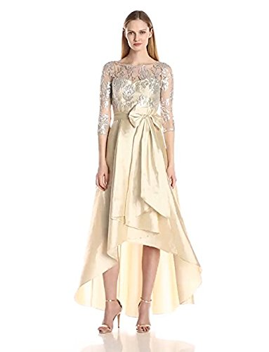 Adrianna Papell Taffeta Skirt (Adrianna Papell Women's Sequin Illusion High Low Gown With Taffeta Skirt, Champagne, 14)