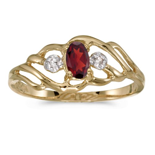 (0.23 Carat (ctw) 10k Yellow Gold Oval Red Garnet and Diamond Fashion Cocktail Anniversary Ring (5 x 3 MM) - Size 9)