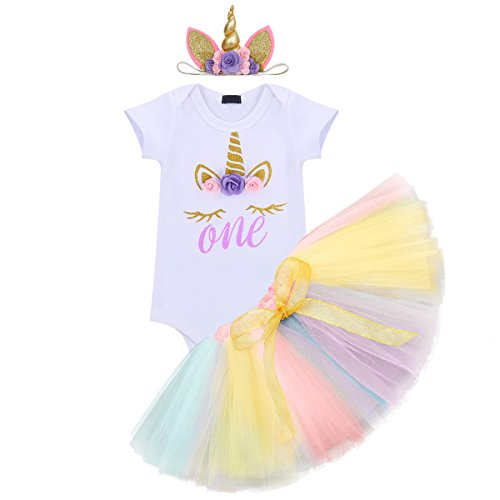Unicorn Flower Outfit Baby Girls Romper + Ruffle Tulle Skirt + Horn Headband First 1st Birthday Party Dress up Costume 3Pcs Cake Smash Set Clothes Purple Age 1 Year -