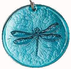 Dragonfly Suncatcher Teal Blue 100% Recycled Glass - Made in USA by Aurora Glass - Made in USA