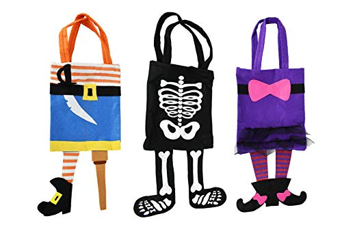 Halloween Trick Or Treating Bags (Black Duck Brand Set of 3 Halloween Trick or Treat Bags with Dangling Legs! Witch, Skeleton, Pirate Bags! Halloween Bags! (Set of All)
