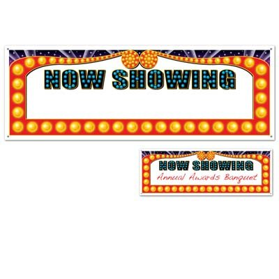 Now Showing Blank Sign Banner Party Accessory (1 count) (Hollywood Red Carpet Theme Party Costumes)