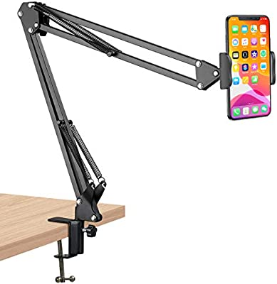 LLguz Phone Holder,360 Degree Rotation High-Strength Clamping Phones Stand for 3.5-6.5 Inches Smartphones Bracket Cell Mobile Telephone Mount Clamp for Motorcycle Electric Car Bike