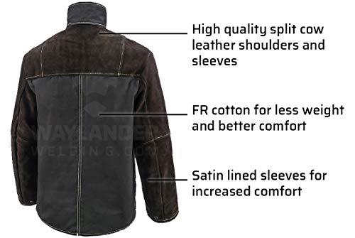 Waylander Welding Jacket Medium Split Leather Heat Fire Resistant Cotton Kevlar Stitched Cowhide Dark Brown - M by Waylander (Image #5)