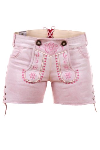 Highlight! Sexy Damen Trachten Ledershorts Pink Princess aus weichem Rindleder Gr 38