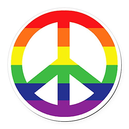 Round Magnetic Signs (CafePress - Big Rainbow Stripe Peace Sign Round Car Magnet - Round Car Magnet, Magnetic Bumper Sticker)
