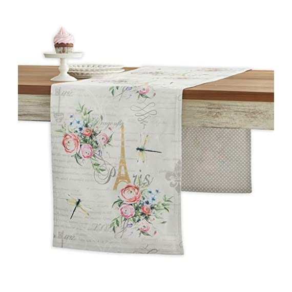 Maison d' Hermine Champ De Mars 100% Cotton Table Runner for Party | Dinner | Holidays | Kitchen | Spring/Summer (14.5 Inch by 72 Inch) - Designed in Europe. 100% Cotton and Machine washable. Package Includes : 1 Table Runner - table-runners, kitchen-dining-room-table-linens, kitchen-dining-room - 41%2BvAmXCAVL. SS570  -