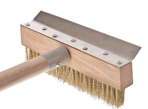 Update International 38-Inch Pizza Oven Brush 3 Pizza oven brush with wooden handle Features a brass bristle brush that will not scratch oven interior It has brush head metal scraper to remove baked-on dough residue from the grates