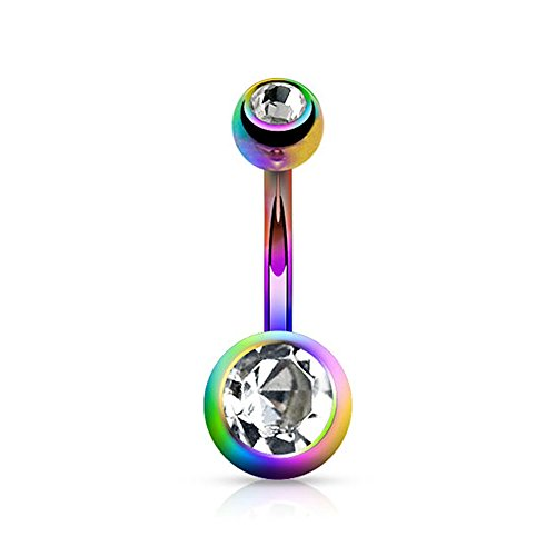 {Rainbow/Clear}Titanium Anodized Over 316L Steel Double Jeweled Navel Belly Button Ring-14GA (Sold Ind.)