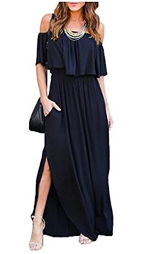 The Sleeves EBBiE with Maxi Party Zow Short Summer Off Black Side Women Ruffle Beach for Dress Pockets Shoulder Casual Split gx7Eqxfw