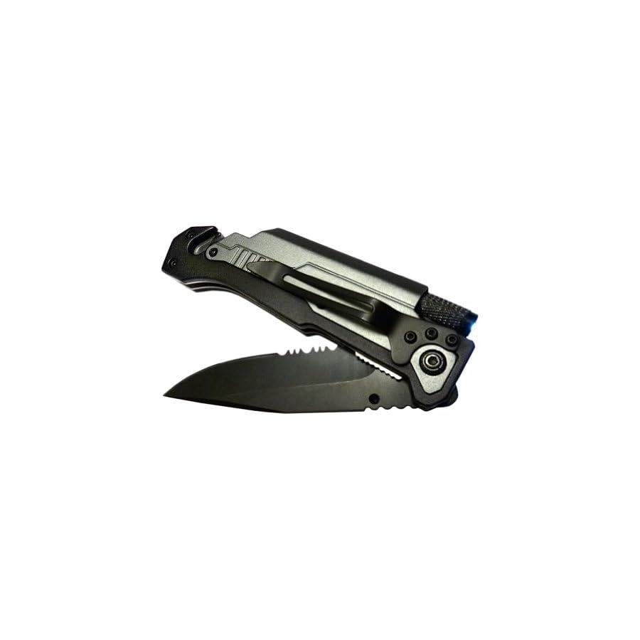 BlizeTec Survival Knife: Best 5 in 1 Tactical Pocket Folding Knife with LED Light, Seatbelt Cutter, Glass Breaker & Magnesium Fire Starter