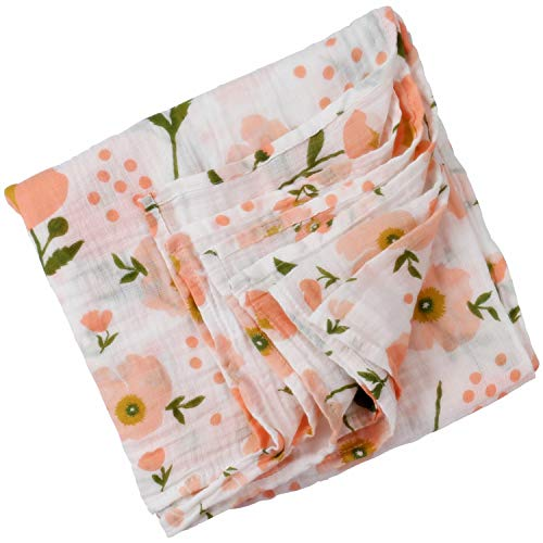 Boy and Girl 100% Cotton Swaddle Blanket, Cute Baby Bamboo Muslin Blankets for Large Size 47 x 47 inches (Orange Flower)