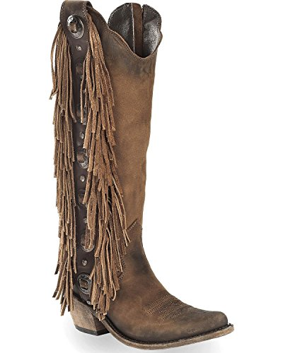 Liberty Noir Femmes Vegas T-moro Frange Cowgirl Botte Bout Pointu - Lb712953a Marron