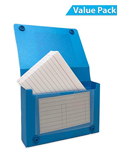 (Index Card Case, 3x5 Inch Index Card Holder, Fits Up to 100 Cards Per Case Assorted Colors - With Heavy Weight Ruled Index Cards, 3