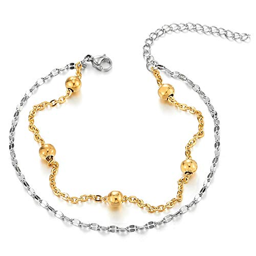 COOLSTEELANDBEYOND Stainless Steel Two-Row Doubel Chain Anklet Bracelet with Balls Charms, Gold and Silver, Adjustable by COOLSTEELANDBEYOND