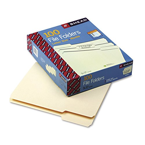 Price comparison product image Product of Smead 1-Ply Top Tab File Folders with 1/3 Tab Cut, Letter, 100 ct. - Manila - [Bulk Savings]