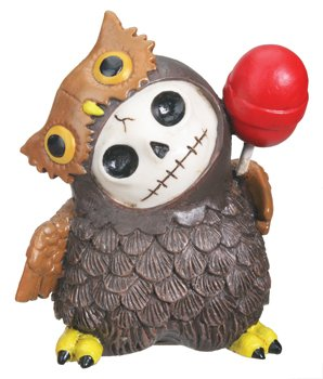SUMMIT COLLECTION Furrybones Hootie Signature Skeleton in Brown Owl Costume with Red Lollipop -