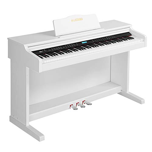 LAGRIMA White Digital Piano, 88 Key Electric Piano Keyboard for Beginner/Adults W/Music Stand+Power Adapter+3-Pedal Board+Instruction Book+Headphone Jack