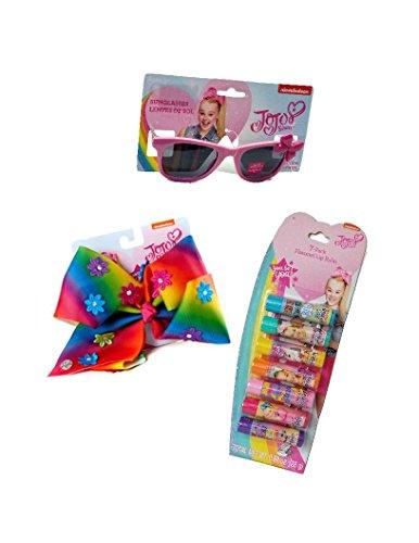 JoJo Siwa Glamour 3 Piece Set - Sunglasses, 7 Pack Flavored Lip Balm and Rainbow Rhinestone Studded Flowers Hair Bow