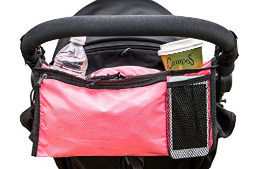 Stroller Organizer Pink Baby Stroller Organizer for Baby Girls. The Stroller Accessory for Busy Moms with 2 Deep Holders for Baby Bottles and Coffee Cups, Space for Phones, Books, Diapers, Clothes. (Pink Stroller Accessories)