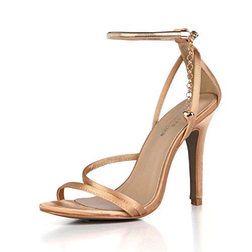 verano Sandalias boda Silk Best 4U® de de suelas los 10CM de Zapatos toe bombas Faux las de Cómodas básicas de champagne Tacones mujeres de altos de colgantes Correas goma EU37 las peep 5ttqCd