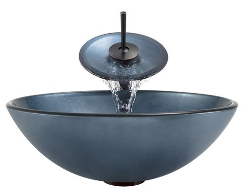 Aurora Sinks A24-ORB-V Bathroom Ensemble with Pop Up Drain, Hand Painted Glass Vessel, Sink, Ring and Waterfall Faucet, Oil Rubbed Bronze