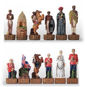 Italfama English v.s Zulu Warriors Hand Painted Polystone Chess Pieces ()