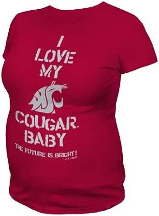 NCAA Washington State Cougars T.Fisher I Love My Baby Maternity Tee Shirt