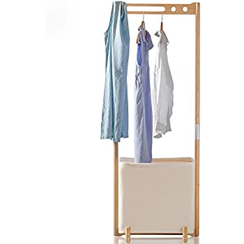 Segarty Wood Garment Racks   Multifunctional Clothes Drying Rack With  Foldable Laundry Hamper   Portable Hanger