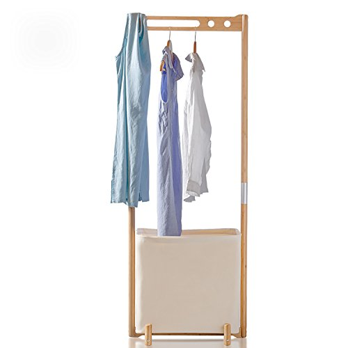 Segarty Bamboo Garment Standing Clothes Organizer, Heavy Duty Hanging Coat Rack with Foldable Laundry Hamper for Entryway and Bedroom