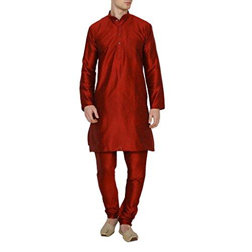 Royal Kurta Men's Occassional Silk Blend Kurta Churidar Set 40 Red