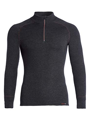 con-ta Thermo Langarm Shirt mit Zipper für Herren, wärmendes Longsleeve aus natürlicher Baumwolle, bequemes Basic, Herrenbekleidung, schwarz Melange, Größe: 7
