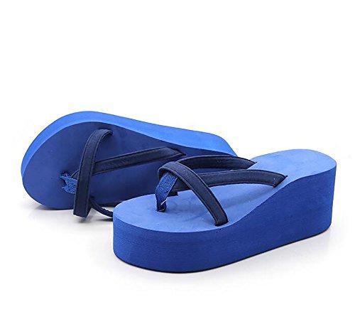 5 Tongs Coin Blue us8 eu39 Femmes Plate Pantoufle 5 Sandales Chaussures Antidérapant black uk6 cn40 forme Plage Talons g5TwqTZx