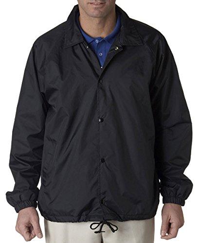 - UltraClub mens Nylon Coaches' Jacket(8944)-BLACK-XL