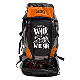 Mufubu Presents Get Unbarred 55 LTR Rucksack for Trekking, Hiking with Shoe Compartment (Black/Orange)