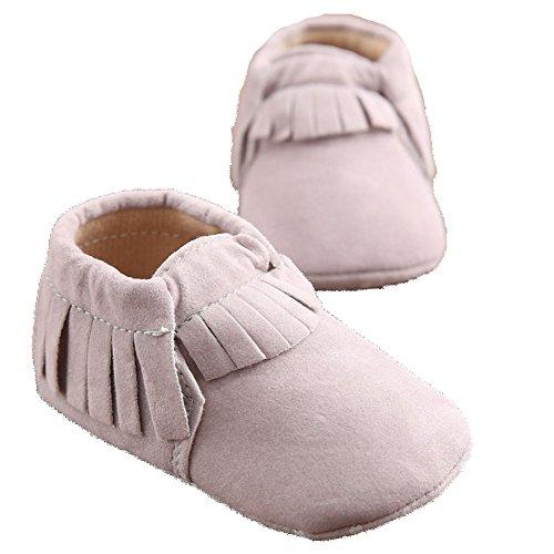 etrack-online Baby Boy Fringe Prewalker de piel sintética ante suave Moccasins Zapatos camouflage Talla:12-18months gris