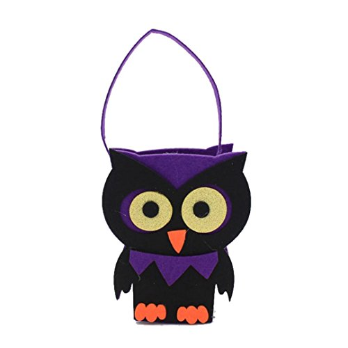 [Iuhan Happy Halloween Pumpkin Bag Kids Candy Handbag Bucket Children Funny Candy Bag (Purple)] (Animated Mummy Head In A Jar Prop)