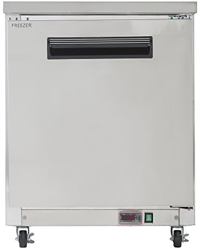 Chef's Exclusive CE335 6.5 Cubic Foot Commercial 1 Single Solid Solid Door NSF Approved Sub Zero Frost Free Undercounter Freezer with Automatic Defrost, 27.5 Inch Wide, Metallic