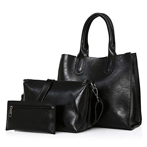 Womens 3 Piece Tote Bag Leather Handbag Purse Bags Set (Black) - 2