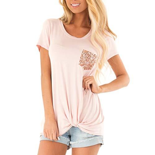 Wonderful Women's Summer Short Sleeves O Neck T Shirt Sequin Pocket Casual Basic Tee Shirts Tops Pink