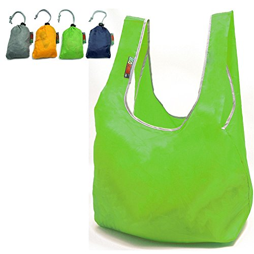 EcoJeannie Nylon Foldable Reusable Bag Grocery Shopping Tote Bag with built-in Pouch