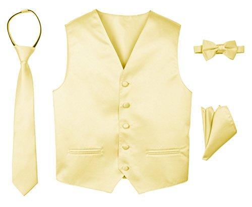Spring Notion Boys' 4-Piece Satin Tuxedo Vest Set 7 Yellow (Vest Yellow Boys)