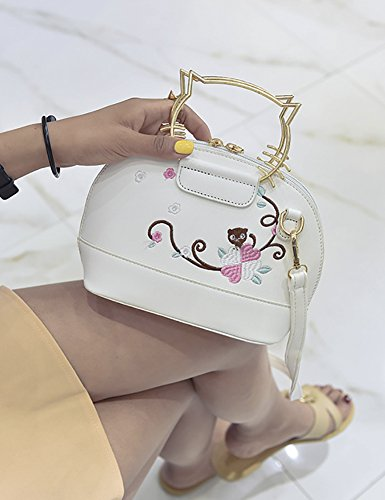 Metal Bag Handle Handbags Crossbody QZUnique Cat Flower Bags Ear Embroidered Shoulder White Women's PwqxZXIO