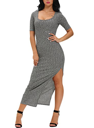 J&Design Women Side Slit Ribbed Half Sleeve Club Bodycon Maxi Dress Gray M