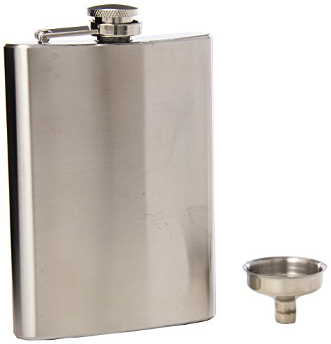 Oggi 8-Ounce Stainless Steel HIP Flask with Filling Funnel, Stainless